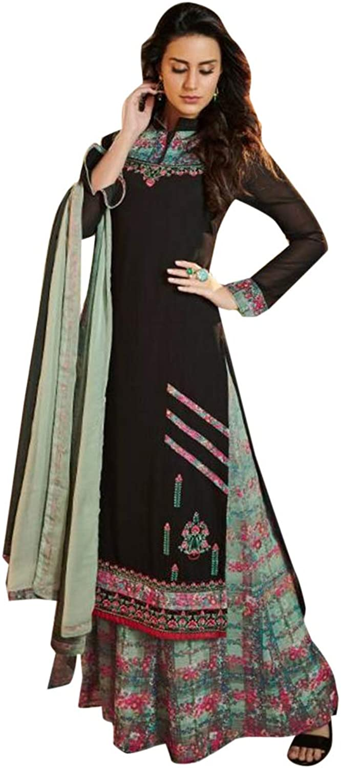 Indian Ethnic Straight Collar Salwar Kameez suit With Dupatta Palazzo Style Formal Wear 7314