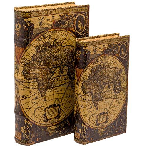 aubaho 2X Schatulle Weltkarte Holz Buchattrappe Box Kästchen Schmucketui Buch Antikstil