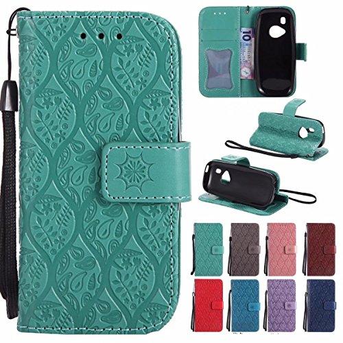 Laybomo Handyhülle für Nokia 3310 (2017) hülle Tasche Leder Beutel Weich Silikon TPU Flip Cover [Bilderrahmen] Stehen Magnetisch Schutzhülle Hülle Schale Tasche für Nokia 3310, Reben Streifen (Grün)