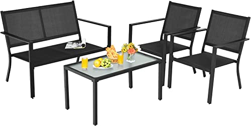 discount Giantex 4 lowest Pieces Patio Furniture Set, Outdoor Conversation Set, Loveseat Bench with 2 Patio Chairs & Tempered popular Glass Coffee Table, Bistro Dining Set for Porch Lawn Garden Poolside outlet sale