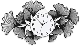JFya Wall Decoration Wall Clock, Creative Ginkgo Leaf Personality Clock Home Bedroom Living Room Silent Electronic Clock (Size : 7443cm)