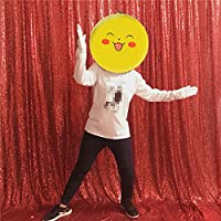TRLYCレッド写真ブース結婚式props-sequinファブリックBackdropsカーテンSweets結婚式、パーティーの装飾 20FT by 10FT レッド KK Red 20x10FT Sequin Background