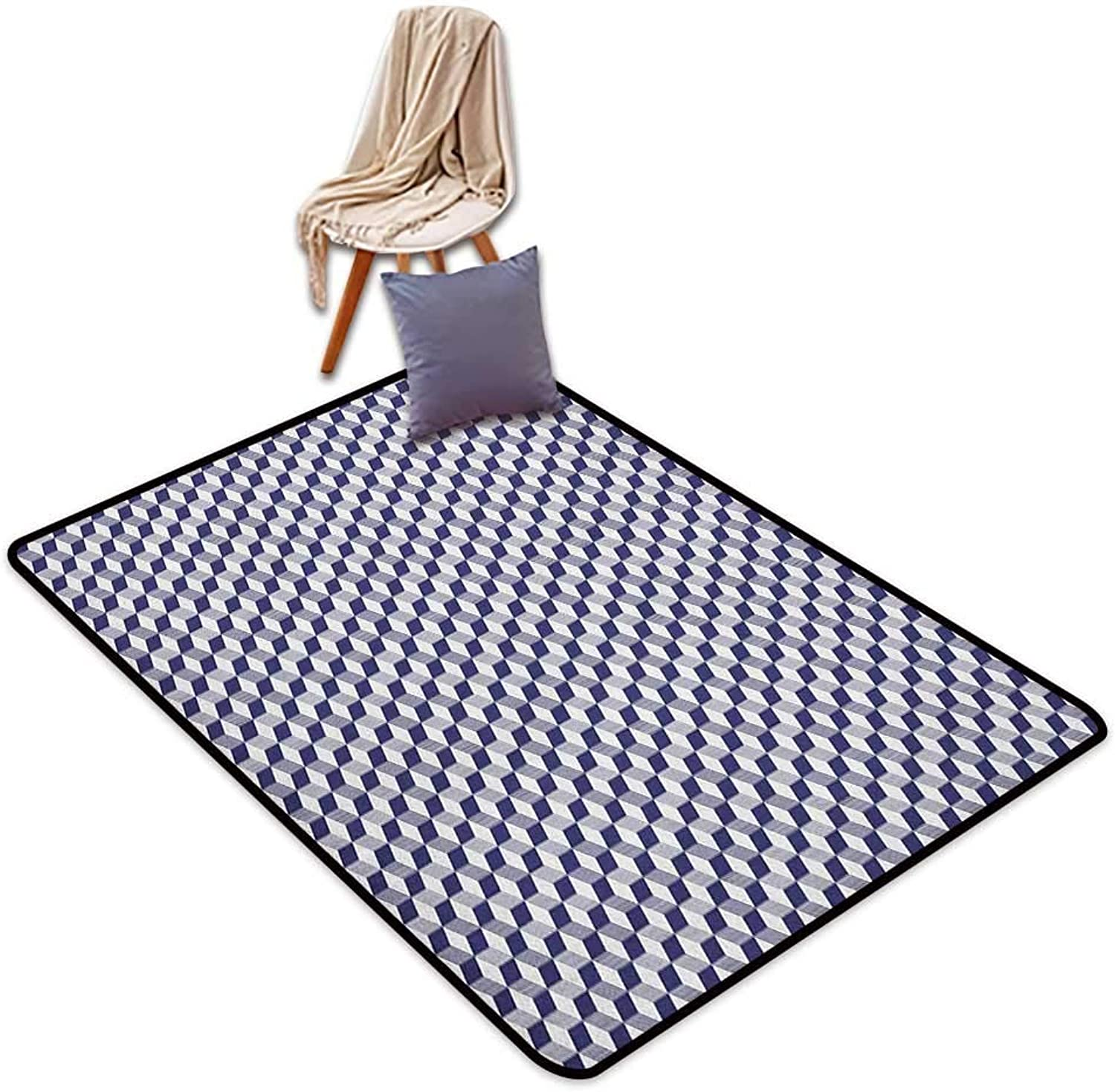 Inner Door Rug Navy bluee Abstract Cube Shape Striped Geometric Three Dimension Pattern Squares and Lines Door Rug Increase W5'xL6'