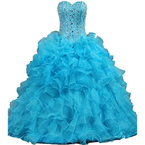 ANTS Womens Ruffled Quinceanera Dress Ball Gown Prom Dresses