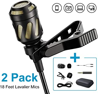 PoP voice 18 Feet Lavalier Microphone, 2 Pack Lapel Microphones for iPhone,Android, PC,Computer,Laptop,Camera,Professional Condenser mic for YouTube,Interview,Video,Include Various Accessories
