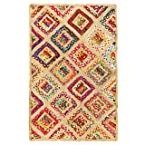 Aakriti Gallery Commerce équitable Motif rectangulaire Quad Multicolores Faite à la...
