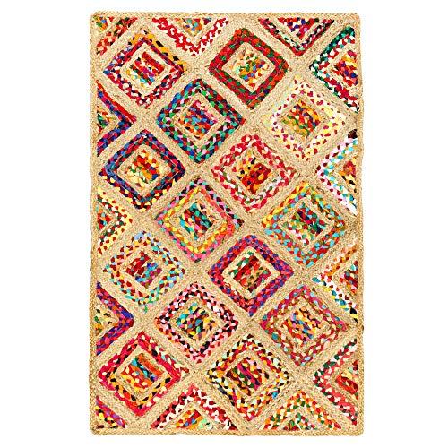 Aakriti Gallery Alfombra de algodón y yute, multicolor, rectangular, diseño de cuadros, hecha a mano, alfombra de yute, multicolor, alfombra india reciclada, boho