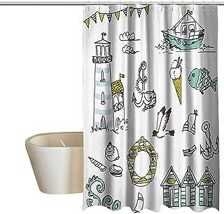 EwaskyOnline Nautical Decor Fabric Shower Curtain Marine Elements with Fish Lighthouse Anchor Vessel Swimsuit Gulls Lifebuoy Print Mens Shower Curtain W72 x L96 Pale Green Yellow