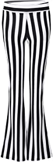 QinCiao Women's Striped High Waist Casual Solid Flare Bell Bottom Stretch Long Pants