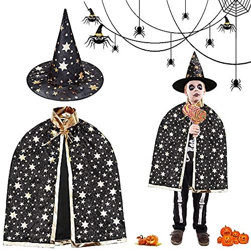 Kinder Halloween Kostüm, Hexen Mantel, Zauberer Umhang mit Hut für Kinder, Zauberer Mantel, Hexen Mantel Stern Cape Zauberhut,für Cosplay Verkleidung Fasching Karneval Halloween Geburtstagsparty