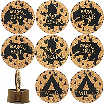 Natural Cork Coasters with Felt Holder Set of 8 for Drinks Absorbent Papa Mama& Baby with Holder Heat and Water Resistant Best Reusable Present for Friends  Wild Bear
