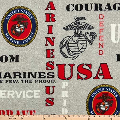 Military Marines Heather-Print Allover Logo Fleece Quilt Fabric By The Yard