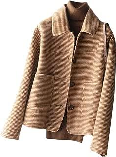 Macondoo Women's Casual Single-Breasted Overcoat Outwear Short Pea Coat