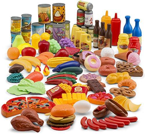 JaxoJoy 122-Piece Deluxe Pretend Play Food Set Beautiful Toy Food Assortment