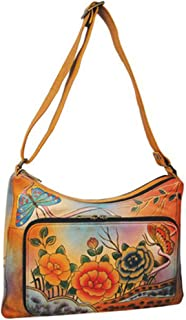 Anuschka Genuine Leather Hand Painted Twin-Top East-West Organizer (Premium Rose Antique)