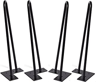 MSOBAIW 16 inch Hairpin Metal Coffee Table Legs Set of 4, DIY Furniture Pin Legs for Side Table, Nightstand, Chair ect, 3/8