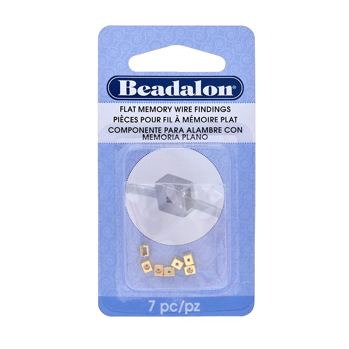 Beadalon 7-Piece Flat Memory Wire Finding with Head Pin Holder, 0.12 by 0.07 by 0.11-Inch, Gold Color