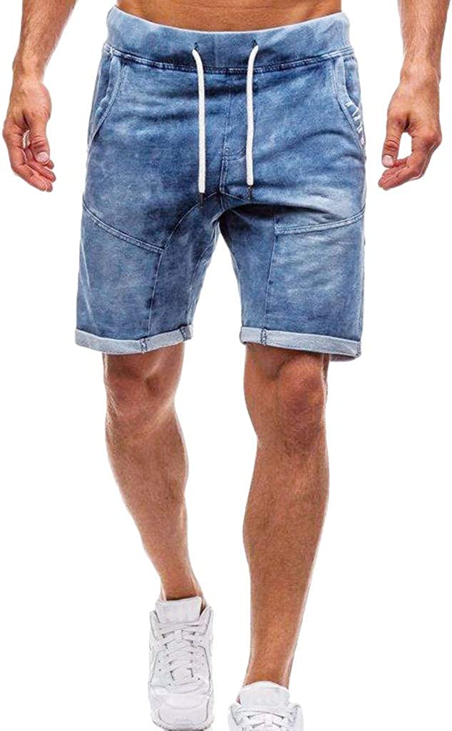 Denim Jeans Forthery Men's Shorts Casual Classic Fit Drawstring Summer Beach Shorts with Elastic Waist and Pockets