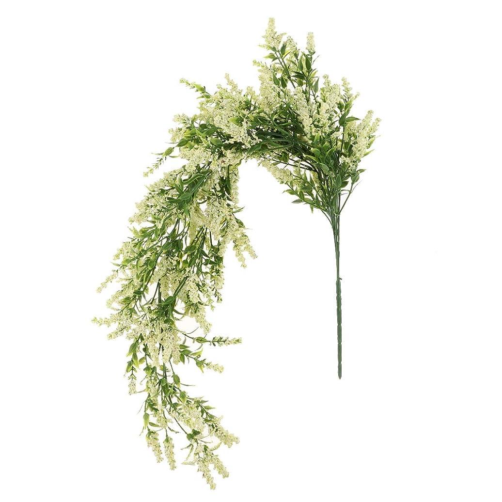 そのソーダ水マダム綺麗な 人工 ラベンダー花 ガーランド 結婚式 装飾 花束 4色選べる - クリーム