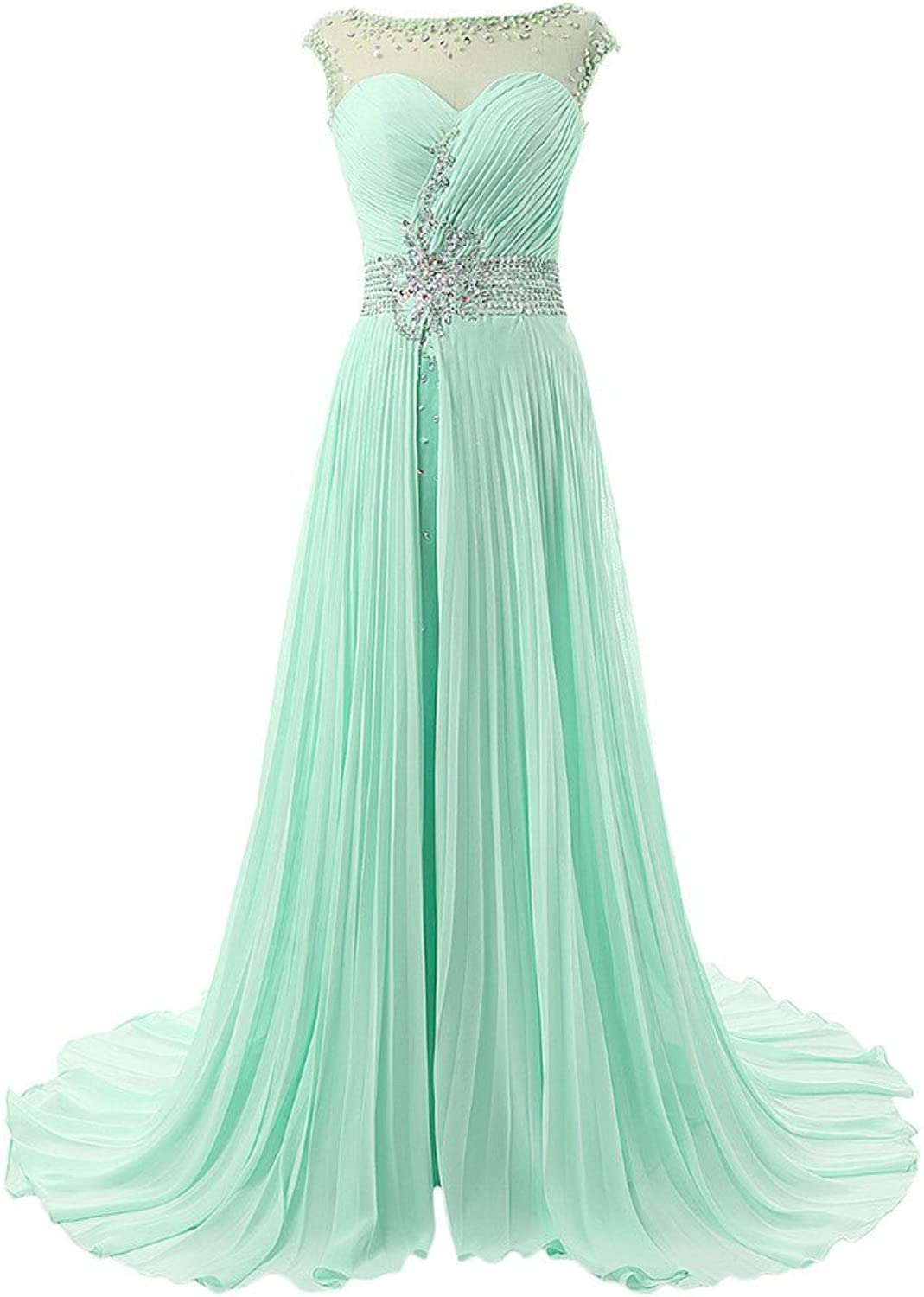 Avril Dress Tulle Beading Pleated Fold Illusion Neckline Prom Evening Dress