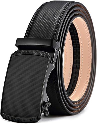 "Dress /& Casual Automatic Lock Horse buckle Black strap Men/'s Leather belt 38/"""