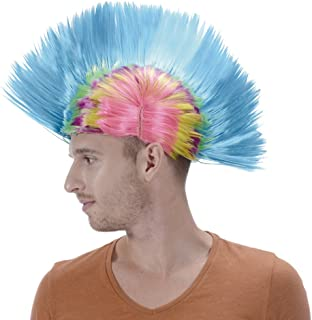 Rainbow Short Punk Mohawk Wig-Synthetic Funny Blue 80s Rocker Costume Halloween Christmas Party Hair Wigs for Men Women