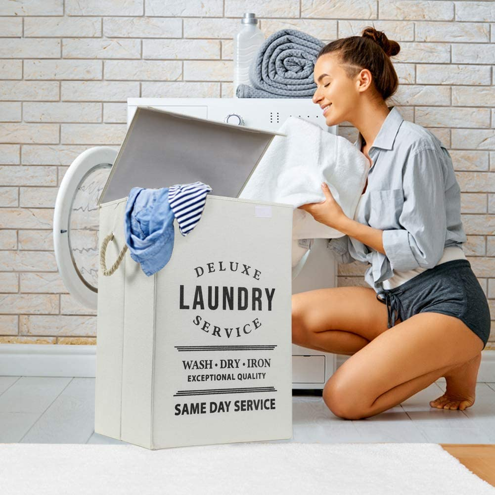 BlackLaundry Large Laundry Baskets with Handles Foldable Hampers for Laundry Easily Storage Transport for Bedroom Grey College Dorm Bathroom Living Room COUNER Laundry Hampers with Lids