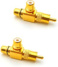 Eightnoo 1 RCA Male to 2 RCA Female Right Angle Splitter Adapter, Gold Plated Audio Splitter RCA M/F Copper Connector,Pack of 2