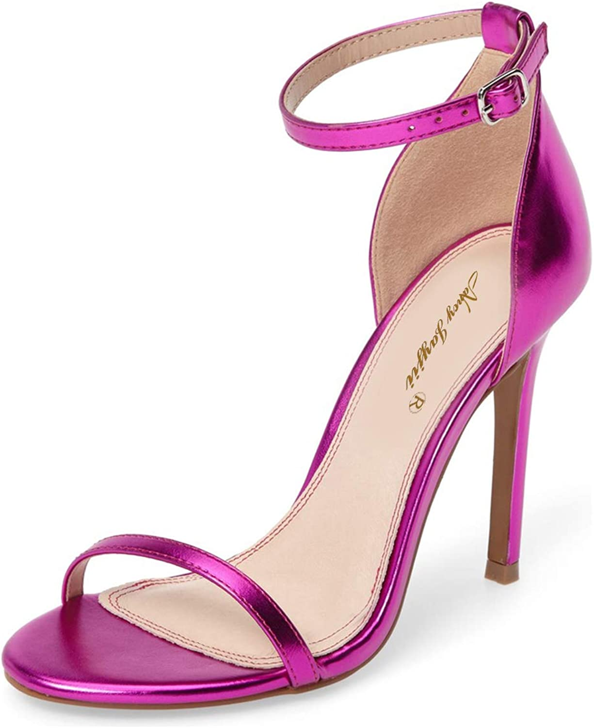 NJ Women Classic D'Orsay Office Lady Sandals Open Toe High Heel Ankle Strap Dress Pumps Cocktail Party Dancing shoes
