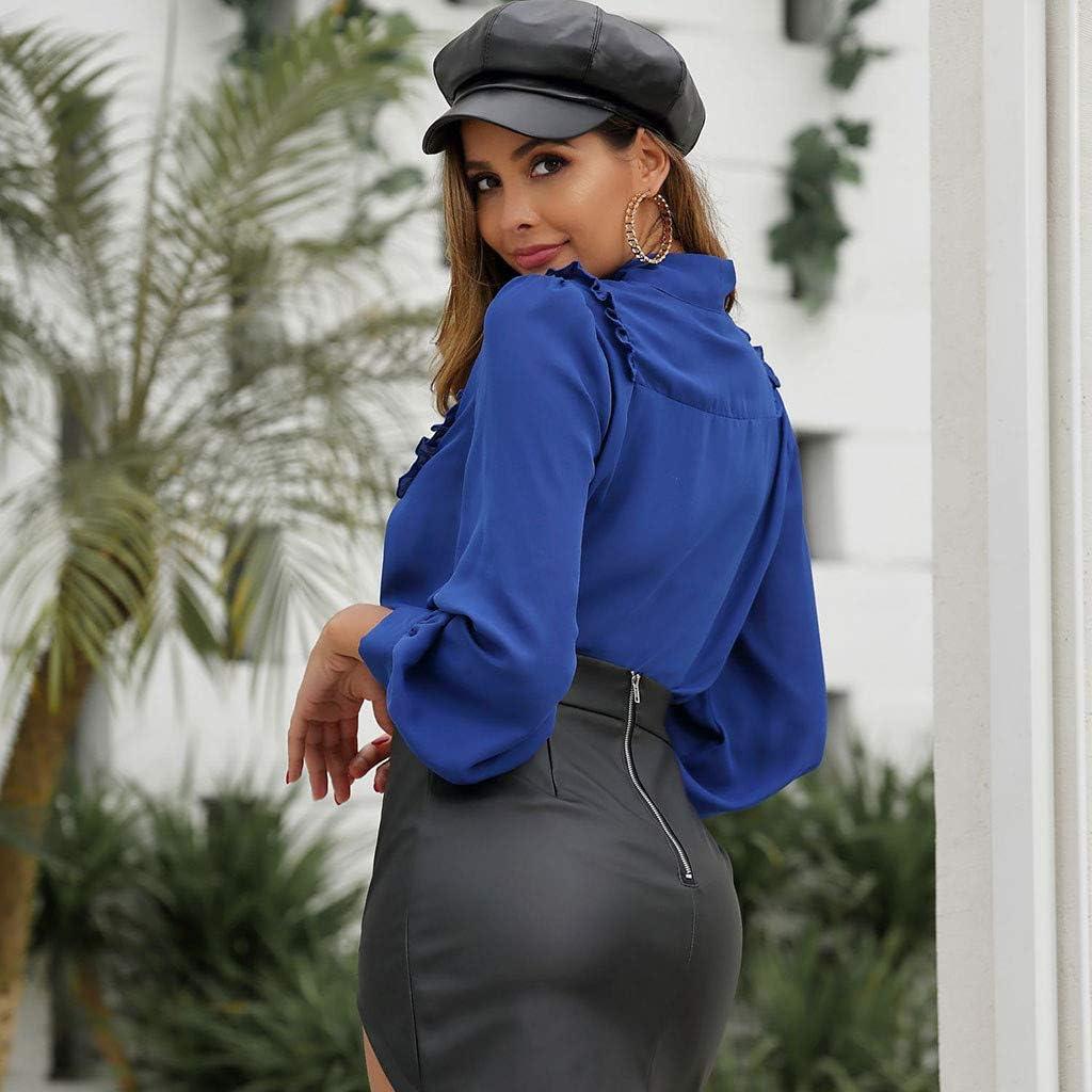 Kangma Womens Bow Tie Collar Plain Frill Trim Long Sleeve OL Business Chiffon Blouse Tops for Work