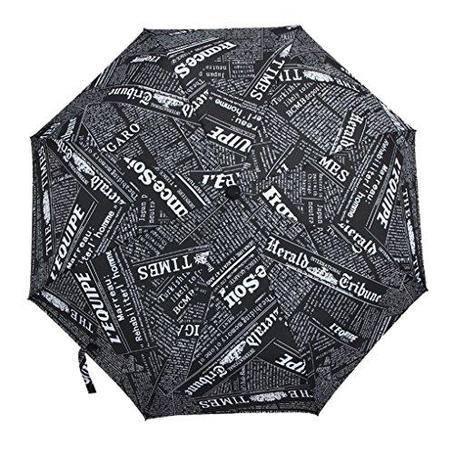 FakeFace® Polyester Regenschirm Sonnenschirm Kompaktschirm Zeitung Muster 3 Stufen Faltbarer UV-Schutz Auf-Zu-Automatik Schirm für Outdoor Camping (Schwarz)