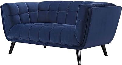 Modern Contemporary Urban Living Room Lounge Club Lobby Loveseat Sofa, Velvet Fabric, Navy Blue
