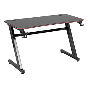 Norwood Commercial Furniture Four-Sided Sixteen Color Surround LED Gaming Desk Workstation, Z-Shape Office Computer Desk for Gaming Gear with Cup Holder and Headphone Hook – Black (NOR-UTH2000BLK-SO)