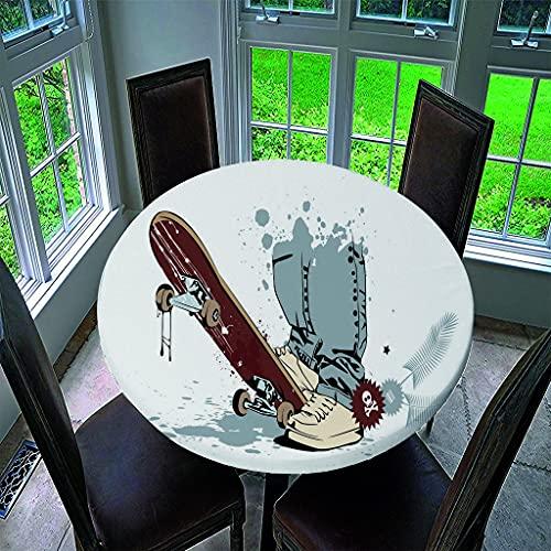 Manteles Antimanchas Impermeable Redonda, Treer Lavable Poliéster Manteles de Borde Elástico con 3D Pasatiempo Impreso Cubierta de Mesa, Decoración para Cocina Comedor Fiesta (Patineta,150cm)