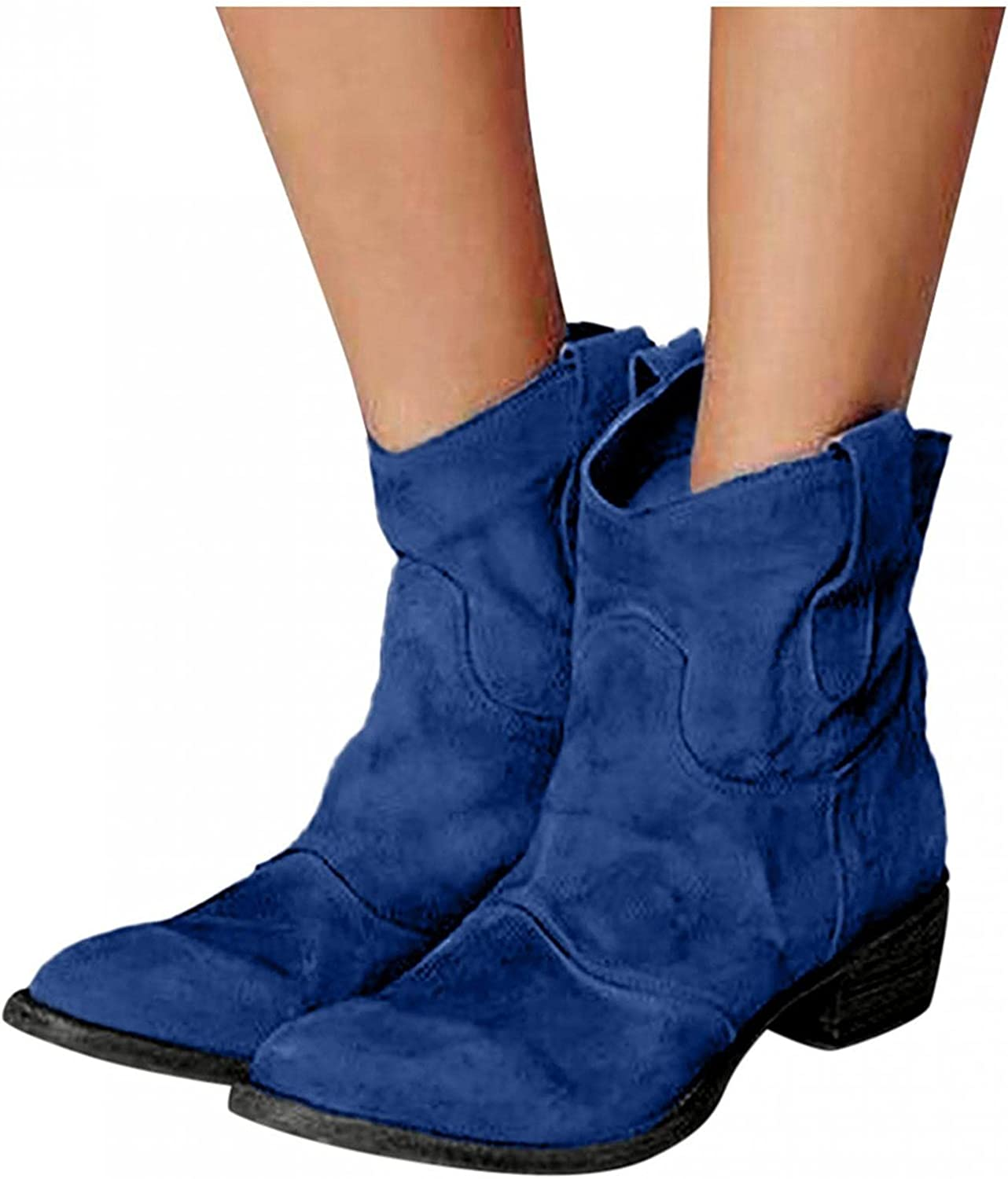 Zieglen Ankle Boots for Women, Vintage Roman Ankle Booties Slip On Low Heel Boots Hiking Boots Womens Cowboy Boots Shoes