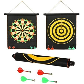 SHANBUYERS - Xplore the Unxplored High Magnetic Power with Double Faced Portable and Foldable Dart Game with 4 Colourful Non Pointed Darts for Kids , Multicolour, 12-Inch