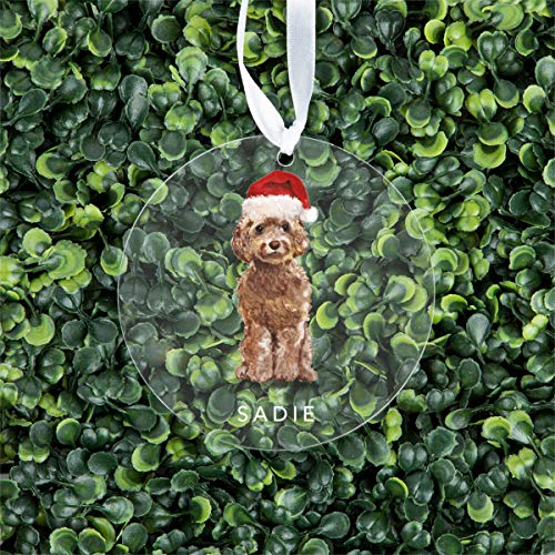 Andaz Press Personalized Round Clear Acrylic Christmas Tree Ornament Keepsake, Champagne Tan Cockapoo with Santa Hat, Custom Name, Christmas Ideas for Dog Lovers, Dog Mom, Dog Parents, 1-Pack
