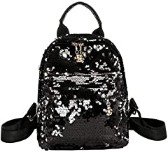 Santwo Women's Mini Rivets Waterproof PU Leather Backpack Casual Daypack Shoulder Bag (B-black)