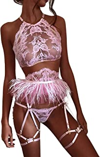 Womens Lingerie Set - Lace Mesh Bra and Panty 2 Pieces Outfits Cut Out Underwire Sexy Babydoll Set