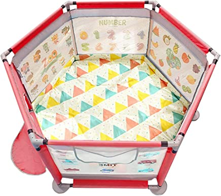 WJSW Playground Baby Playpen Panel with Dual-use Mat Children Protective Activity Center Crawling Toddler Guardrail  Waterproof  Breathable  Washable Pink 124x65cm