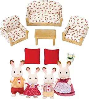 Calico Critters Hopscotch Rabbit Family with Living Room Suite