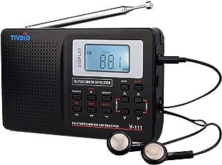 TIVDIO V111 Portable Radio AM FM Shortwave Transistor Radio DSP AA Battery Powered with Digital Alarm Clock Sleep Timer with Earphones(Black)