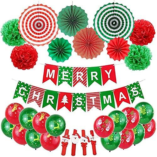 ZCZZ .Abanico de Papel navideño Decoración Globo Cola de pez Bandera Múltiples Estilos Combinación Decorativa para Fiesta de año Nuevo Carnaval de Navidad