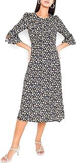 Floral Patterned Dress Black/White/Blue
