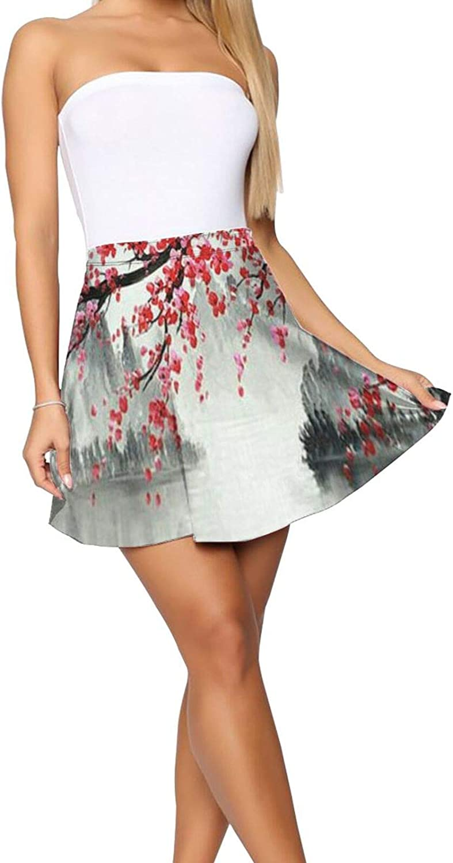 RHRFOL Traditional Chinese Plum Blossom 1 Women's Basic Versatile Stretchy Flared Casual Mini Skater Skirt