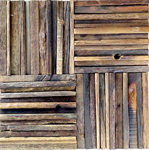 Holz Mosaik Parkett boot OLD Wood Holz FSC Mosaikfliese Wand Fliesenspiegel Küche Bad