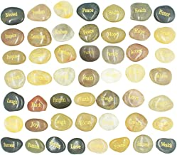 50 Engraved Inspirational Stones with Words of Encouragement – Gold Engraved Stones for Worry Stones, Affirmation Stones, Meditation Stones, Gift Rocks with Inspirational Words of Prayer, Hope
