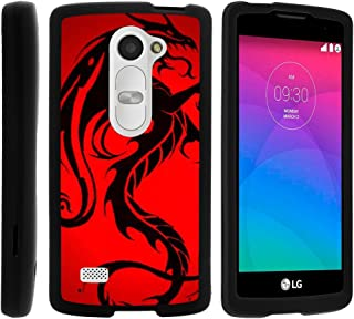 TurtleArmor | Compatible with LG Leon Case | LG Tribute 2 | LG Risio [Slim Duo] Two Piece Hard Cover Slim Snap On Case on Black - Red Dragon