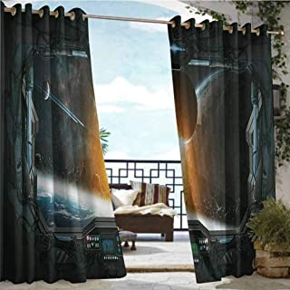 Exterior/Outside Curtains Outer Space Decor,Scenery of Planets from The Window of a Shuttle Bodies Astronaut Look,Gray Orange,W84 xL96 for Patio Light Block Heat Out Water Proof Drape