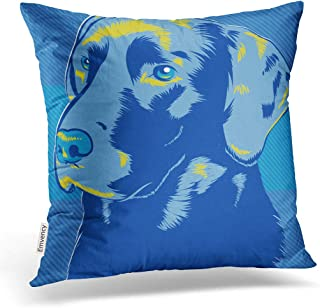 Emvency 16X16 Inch Throw Pillow Cover Polyester Black Lab Labrador Dog Pop Style Blue Golden Face Head Painting Vintage Grooming Chocolate Cushion Decorative Pillowcase Square Two Side Print for Home